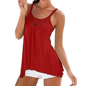 2019 Women Casual Lace Sleeveless Crop Top Vest Tank Shirt Blouse ...