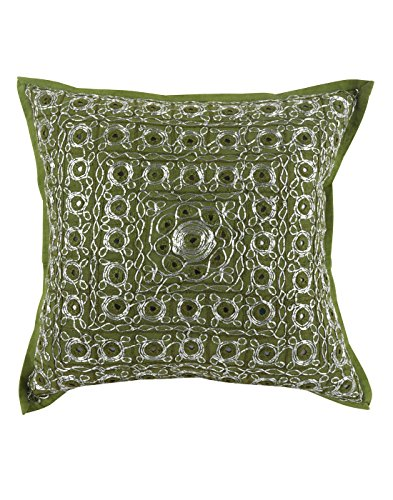 Home Furnishing Dark Olive Green Throw Pillows Cotton 16 x 1