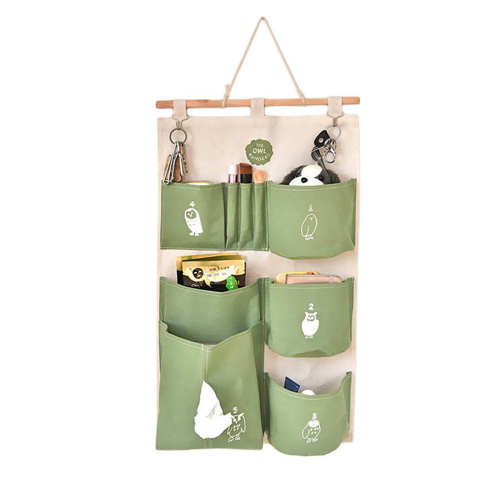 Cotton Linen Decorative Home Organizer Wall Door Pouch Holder Closet Hanging Storage Case Bag with Hooks Green Gosear