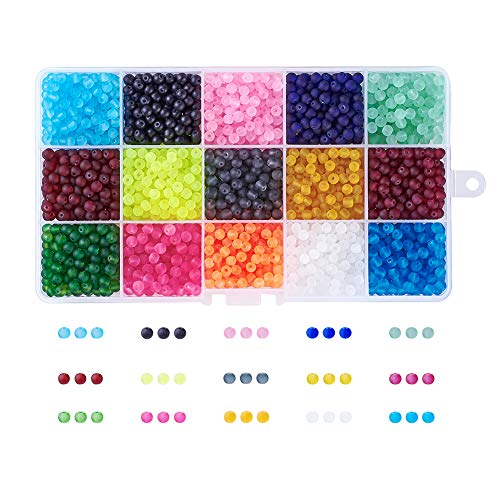 Craftdady 15 Colors About 1500Pcs Transparent Frosted Glass Round Beads 4mm Assorted Colors Matte Beads Set with Container Box