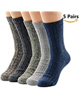 American Trends Women Winter Socks Vintage Casual Warm Wool Socks 5 Pack Solid Color B