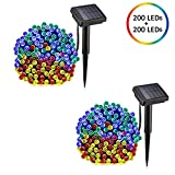 voona Solar String Lights Multi-Color 2-Pack 200 LED 72FT Outdoor Christmas Decoration LED Fairy Lights Two Modes for Home Lawn Garden Patio Wedding Holiday Party Indoor and Outdoor (Multi-Color)