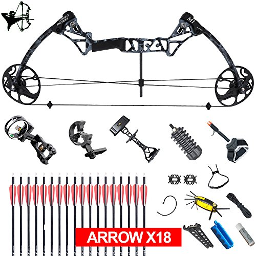 Predator Bow (XQMART XGeek Archery Compound Hunting Bow Package & Accessories Kit M1 (Right Handed) (Black) (M1-black camo-))