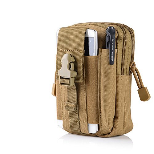 Foxtop Waist Pack Multi-Purpose Poly Tool Holder EDC Pouch Camo Bag Military Nylon Utility Tactical Waist Pack Camping Hiking Pouch (Khaki)