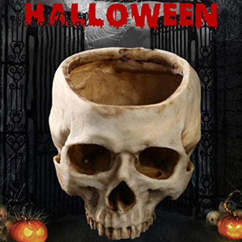 Head Planter - MagiDeal 1Pc Skull Head Model Design Flower Pot Planter Container Replica for Halloween Party Home Bar Pub Decor Gag Toy Gift -