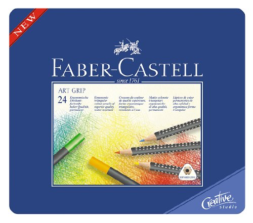 Faber-Castell Art GRIP Color Pencils, Tin of 24