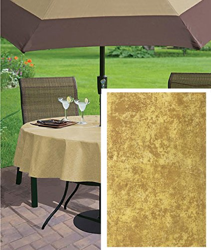 Gold Milano Marble Solid Color Print Heavy Gauge Vinyl Flannel Backed Tablecloth, Indoor/Outdoor Tablecloth for Picnic, Barbeque, Patio and Kitchen Dining, (70 Inch Zippered Umbrella Hole Round)