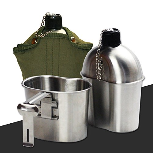 Gi Style Nylon Belts (Military Stainless Steel 1qt. Canteen & Cup Mess Kit G.I. Style Nylon Cover Belt)