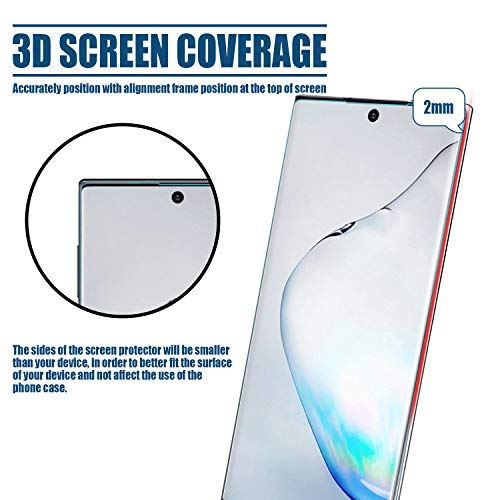 [2 Pack] Galaxy Note 10 Plus Screen Protector, DONWELL No Bubbles 3D Curved Edge Tempered Glass Screen Protector Support Fingerprint Sensor Compatible with Samsung Galaxy Note 10 Pro/Plus 5G 2019