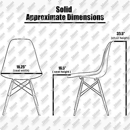 2xhome Set of 4 White Mid Country Modern Molded Shell Designer Assemble Plastic Side No Arms Wheels Armless Chairs Natural Wood Wooden Eiffel Dining Room Bedroom Kitchen Accent Office DSW,