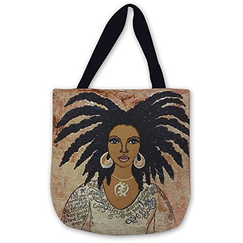 Shades of Color Woven Tote Bag, Nubian Queen, 17 x 17 inches (WTB009)