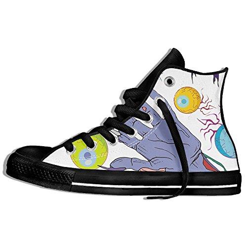Classiche Sneakers Alte Scarpe Di Tela Anti-skid Eyeball Zombie Mano Casual Da Passeggio Per Uomo Donna Nero