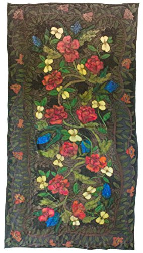 (Silk Scarf or Wallhanging, Hand Painted, Red, Green, Blue, Cream on 36 x 72)