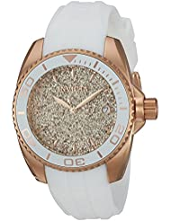 Invicta Womens Angel Quartz Stainless Steel and Silicone Casual Watch, Color:White (Model: 22704)