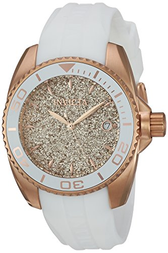 Invicta Women's 'Angel' Quartz Stainless Steel and Silicone Casual Watch, Color:White (Model: 22704) by Invicta