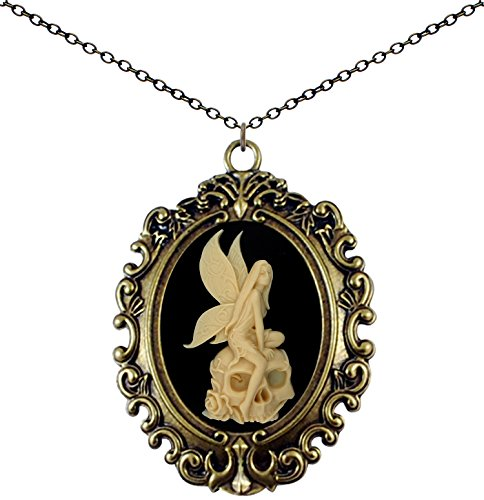 Yspace Antique Brass Necklace Cameo Big Pendant Jewelry 2 Chain Deluxe Pouch Gift (Skull Fairy) ()