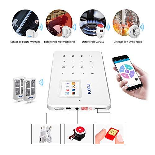 KERUI - Kit Sistema de Alarma GSM/SMS Control de marcado automático por CALL/APP(IOS/ANDROID) Pilas Incluida: Amazon.es: Bricolaje y herramientas