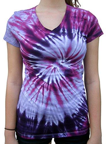 (Rockin' Cactus Women's(Reg) V-Neck Tie Dye Shirt-Purple Spiral-2X)