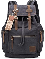 BUG Vintage Canvas Fabric Cotton Leather Backpack Bookbag