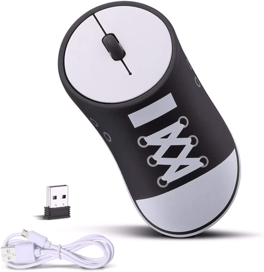 Lefthigh Canvas Shoes Wireless Mouse Game Ergonomic Creative Design Shoes Optical Mouse USB Mice New Black
