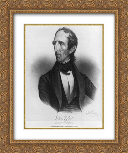 John Tyler, President of the United States, 1841. Born 29th day of March 1790 20x24 Double Matted Gold Ornate Framed Art - Galleria Tyler Of