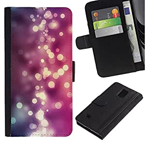 KingStore / Leather Etui en cuir / Samsung Galaxy Note 4 IV / Rosa púrpura brillante Agua;