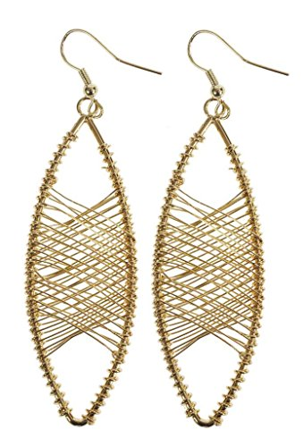 Kenneth Jay Lane Gold Oval Wire (Oval Dangle Wire Earrings)