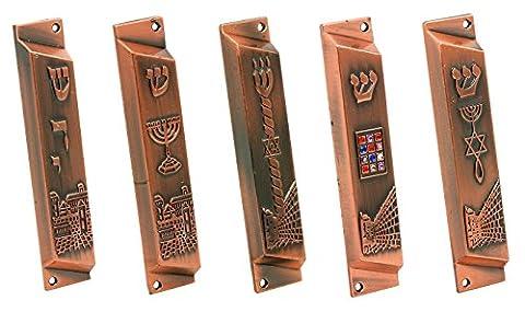 Set of 5 Red Bonze Grafted in Messianic Mezuzah from Jerusalem: Grafted symbol, Hoshen of 12 tribes of Israel, Shadai , Jerusalem panorama, Menorah + GIFT: Gold plated Menorah key chain!