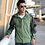 NIAN Waterproof Jacket men Sportswear Outdoor Hooded Camping Hiking Mountaineer Running Jackets (Color : Grass green, Size : L)