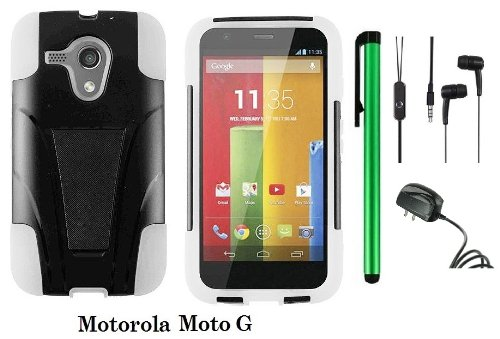 Motorola MOTO G (VERIZON, BOOSTMOBILE) Premium T-stand Protector Hard Case Cover + 3.5MM Stereo Earphones + Travel (Wall) Charger + 1 of New Metal Stylus Touch Screen Pen (WHITE / BLACK) - First Motorola Flip Phone