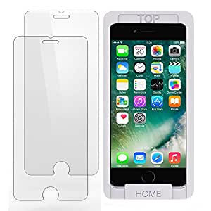 iPhone 7 6s 6 Screen Protector Glass, Trianium iPhone 7 Tempered Glass (2-Pack) Screen Protector for Apple iPhone 7, iPhone 6s, iPhone 6 2016 2015 (Case Compatible) - [Clear / White Alignment Frame]