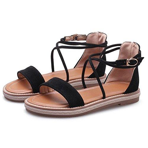 TAOFFEN Women Open Toe Shoes Cross Strap Black nJY6Z