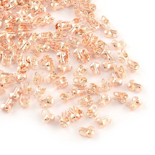 Packet of 225+ Rose Gold Plated Iron 3mm Bead Tips Clamshells Calottes - (HA12245) - Charming Beads
