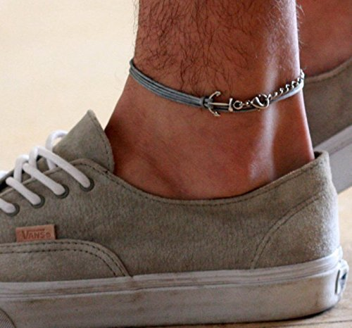 Handmade Silver Plated Chain Anklet For Men By Galis Jewelry Silver Anklet For Men Ankle Bracelet For Men