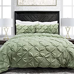 Sleep Restoration Pinch Pleat 3-Piece Luxury Goose Down Alternative Comforter Set - Premium Hypoallergenic All Season Pintuck Style Duvet Set - Full/Queen - Sage