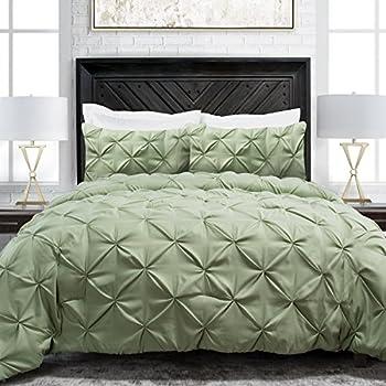 Sleep Restoration Pinch Pleat 3-Piece Luxury Goose Down Alternative Comforter Set - Premium Hypoallergenic All Season Pintuck Style Duvet Set -King/Cal King - Sage