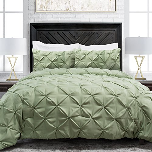 Sleep Restoration Pinch Pleat 3-Piece Luxury Goose Down Alternative Comforter Set - Premium Hypoallergenic All Season Pintuck Style Duvet Set - Full/Queen - Sage (Sage Green Comforter Set)
