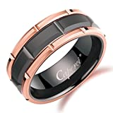 Caperci Men's 8mm Black Tungsten Wedding Band Ring with Brick Pattern & Rose Gold Rims, Size 9