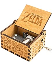 18 Note Engraved Wooden Legend of Zelda Theme Music Box,Antique Carved Hand Crank Musical Box Gift