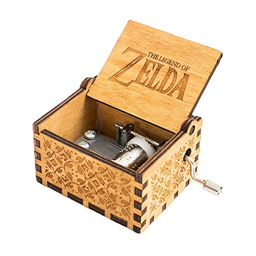 - FnLy 18 Note Engraved Wooden Legend of Zelda Theme Music Box,Antique Carved Hand Crank Musical Box Gift,Brown