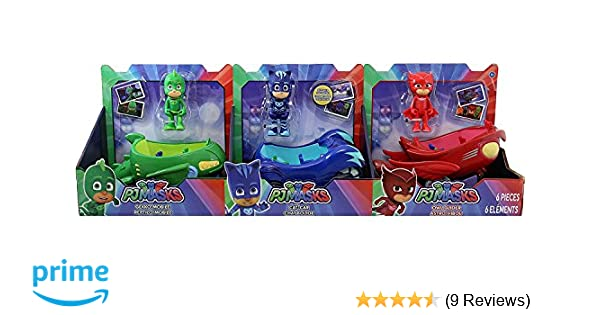 Amazon.com: PJ Masks 3 Vehicles CAT CAR, OWL GLIDER and GEKKO MOBILE: Toys & Games