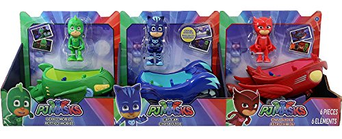 PJ Masks 3 Vehicles CAT CAR, OWL GLIDER and GEKKO MOBILE