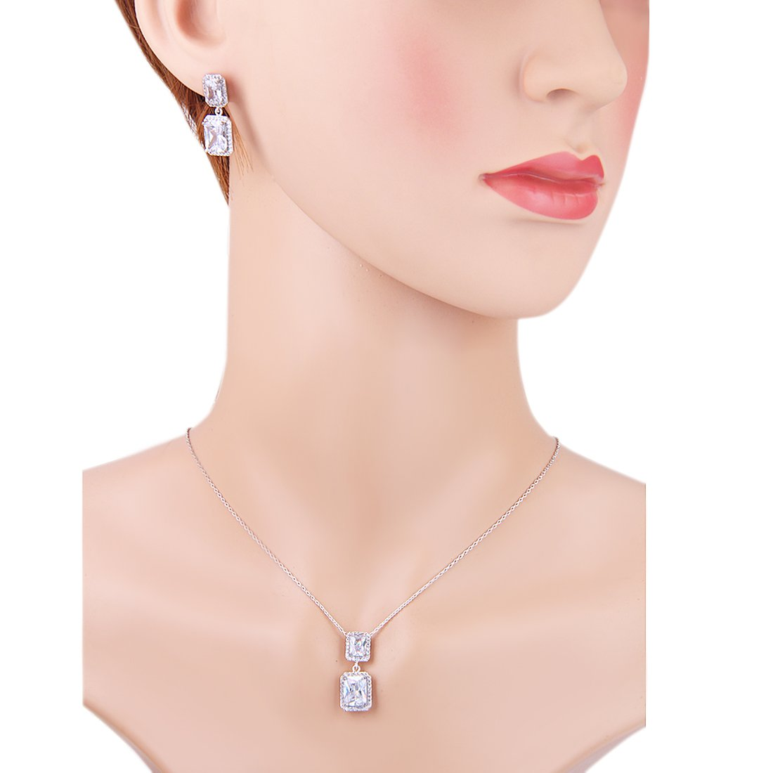 Wordless Love Jewelry Sets for Women Cubic Zirconia Party Earrings Pendant Necklace Set by Wordless Love (Image #5)