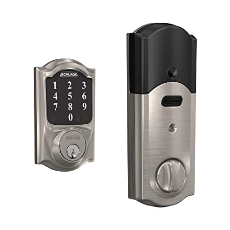 Schlage Connect Smart Deadbolt with Camelot trim in Satin Nickel, Zigbee Certified – BE468GBAK CAM 619
