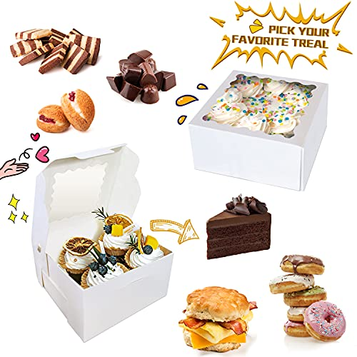 KLATIE 30 Pcs White Bakery Boxes with Window, Cookie Boxes with 66 Feets Twine and 30 PCS Stickers, 6 X 6 X 3 Inches, White Paperboard Pastry Boxes for Cookies, Cake, Donut, Strawberries, Macarons