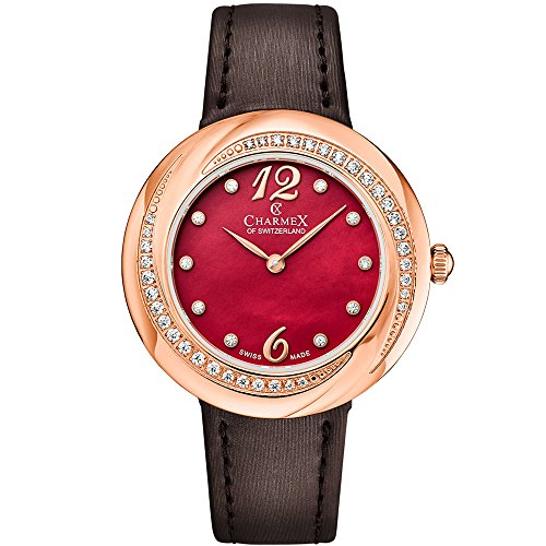 Charmex Women's Deauville 34mm Brown Leather Band Steel Case Sapphire Crystal Quartz Red Dial Watch 6363