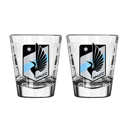 fan products of MLS Minnesota United FC Satin Etch Shot Glass, 2-ounce, 2-Pack