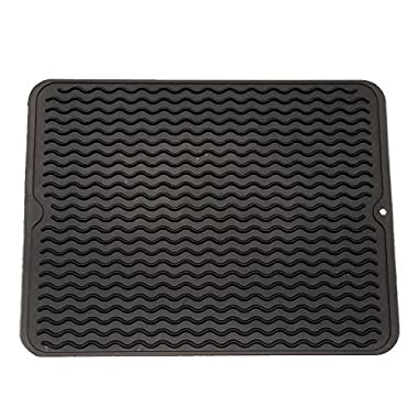 ZLR Silicone Dish Drying Mat Easy Clean Dishwasher Safe Heat Resistant Eco-Friendly Trivet Black Large 15.8  X 12