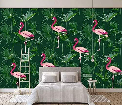 Amazon Com Murwall Flamingo Wallpaper Tropical Leaf Wall Mural