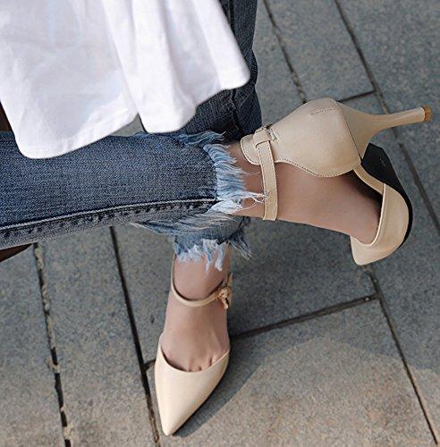Idifu Donna Elegante Cinturino Alla Caviglia Scarpe A Punta Pendenti Con Tacco A Spillo Beige